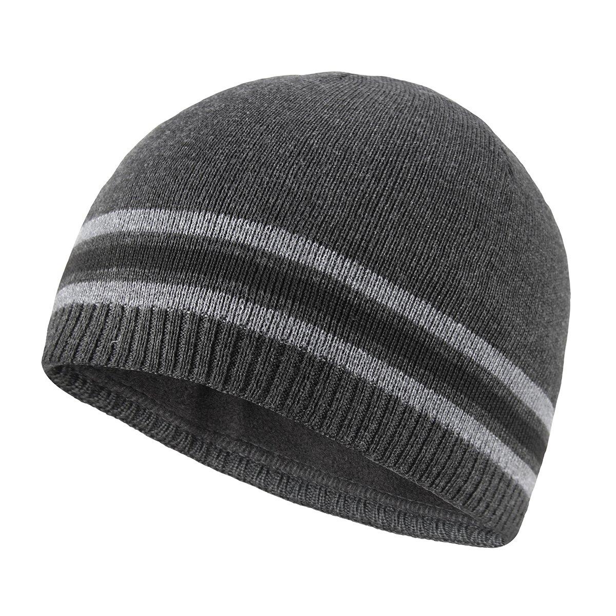 7de8dc2e71d OMECHY Mens Winter Beanie Hat Warm Cuff Toboggan Knit Ski Skull Cap ...