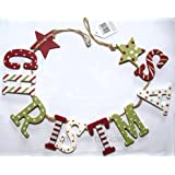 Vintage Country Red , Green and White Christmas Garland / Bunting