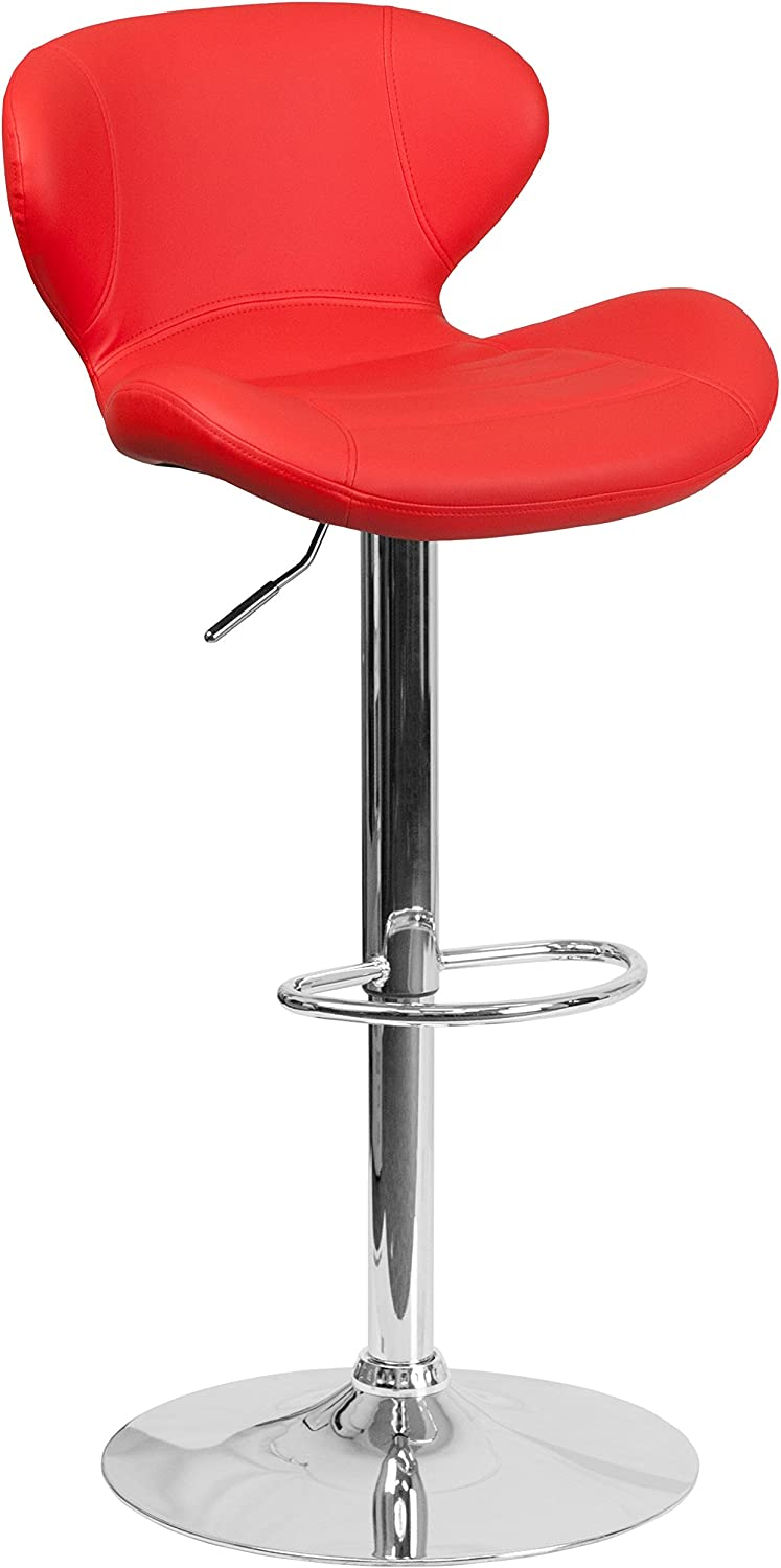 Flash Furniture Contemporary Red Vinyl Adjustable Height Barstool with Curved Back and Chrome Base