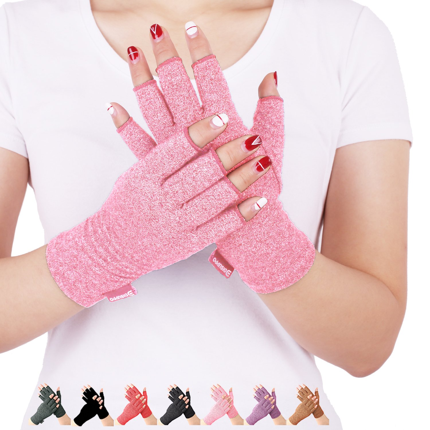 Arthritis Compression Gloves Relieve Pain from Rheumatoid, RSI,Carpal Tunnel, Hand Gloves Fingerless for Computer Typing and Dailywork, Support For Hands And Joints (Pink, Medium)