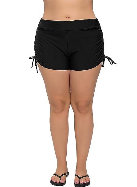 8d05182c0c7 ATTRACO Womens Plus Size Swimsuit Bottom Tankini Bottom Beach Shorts Black  1x