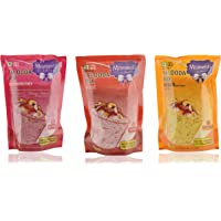 Moments to Cherish Instant Falooda Mix Strawberry, Instant Falooda Mix Rose, and Instant Falooda Mix Kesar, 600 grams (Combo of 3)