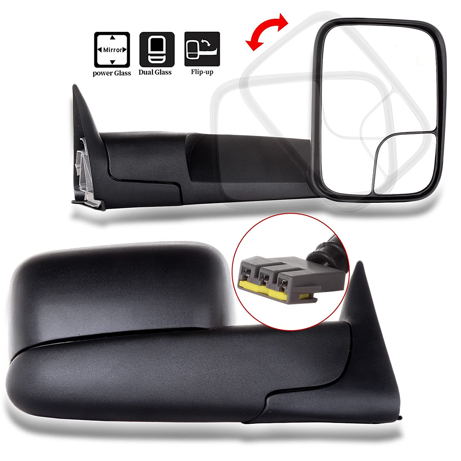 SCITOO Towing Mirrors fit 1994-2002 Ram 2500 3500 w//Support Brackets 1994-2001 Dodge Ram 1500 Manual Black Side View Pair Mirrors 050987-5206-1022404