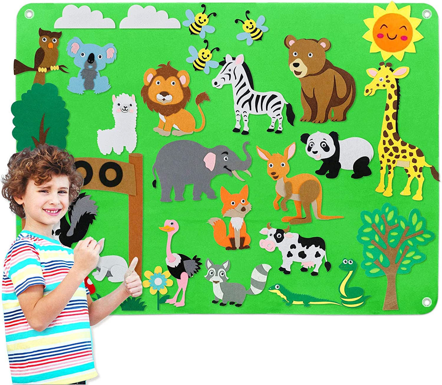 Large Wall Hang Storytelling Activity Kits Craft Toy Gifts for Kids Preschool Flannel Felt-Board Story Set for Toddlers with Felt Zoo Animals Figures
