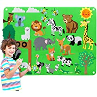 Preschool Flannel Felt-Board Story for Toddlers with Felt Zoo Animals Figures, Craft Toy Gifts for Kids, Large Wall Hang…