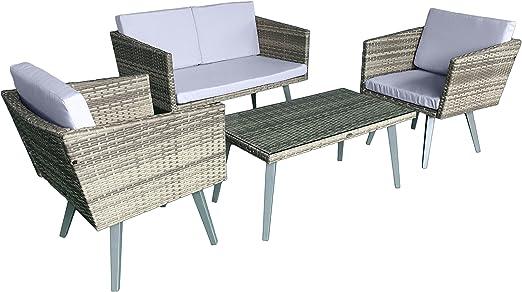 Set de muebles de jardín de color gris beige y amarillo de Jet Line de diseño retro: Amazon.es: Jardín