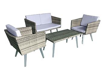 Jet Line Gartenset Cassis Gelb Grau Beige Meliert Lounge Garten Set  Gartenmöbel Retro