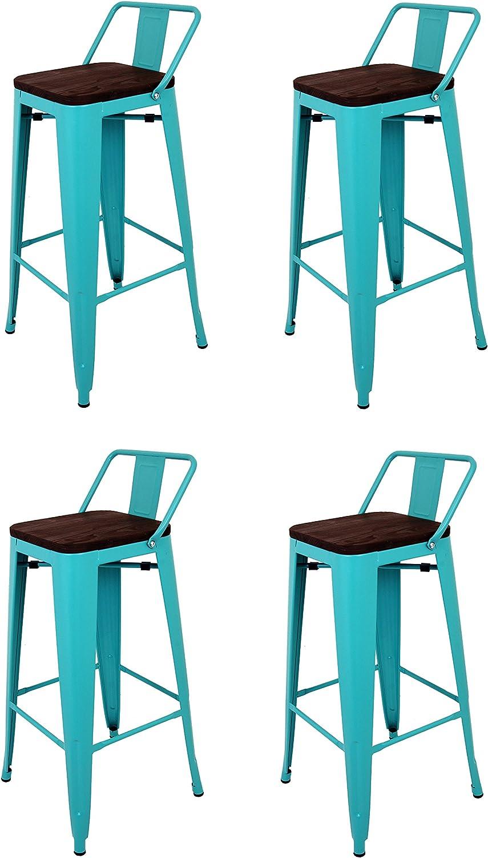 La Silla Española - Pack 4 Taburetes estilo Tolix con respaldo y asiento acabado en madera. Color Turquesa. Medidas 95x43x43: Amazon.es: Hogar