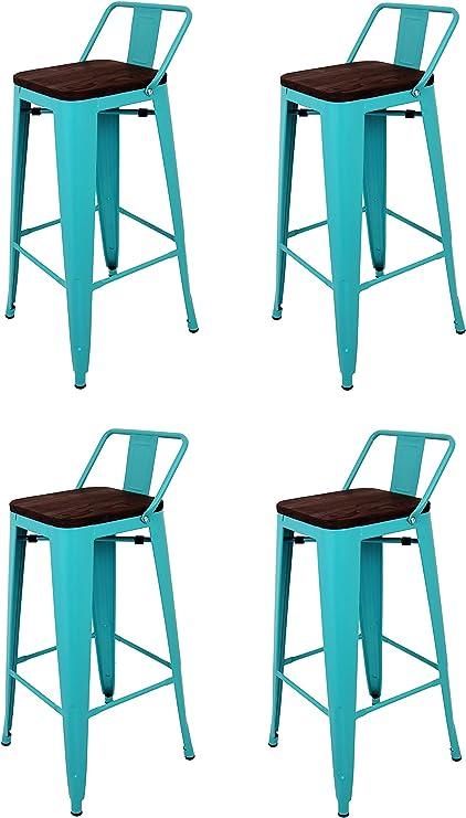 Nero 2/pezzi 43/x 43/x 73/cm La sedia spagnola Pack di sgabelli quadrati Acciaio