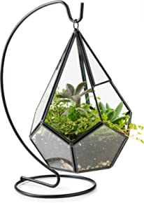 KooK Diamond Tear Drop Hanging Terrarium With Stand - Black