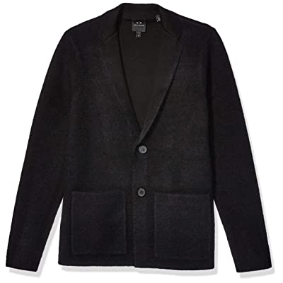 A|X Armani Exchange Men's Solid Blazer with Patch Pockets and Ax Logo: Clothing