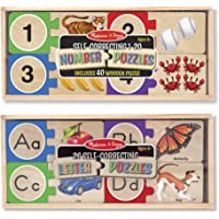 Melissa & Doug Self-Correct Counting Letter and Number Wooden Puzzles Set With Storage Box