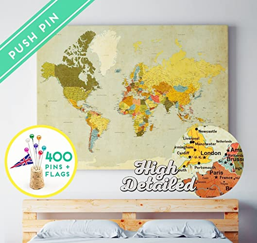 Amazon world map push pins canvas ready to hang 400 pins world map push pins canvas ready to hang 400 pins world flags gumiabroncs Images