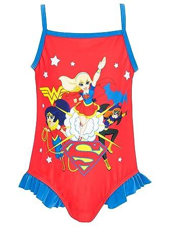 ea0ed10d37 DC Superhero Girls DC Superhero Swimsuit Ages 5 to 12 Years: Amazon.co.uk:  Clothing