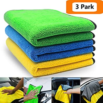 OFNMY 3pcs Paños de Limpieza de Microfibra Doble Capa Toalla Ultra Grueso de Limpieza de Polaco para Lavar el Coche (30x40cm): Amazon.es: Coche y moto