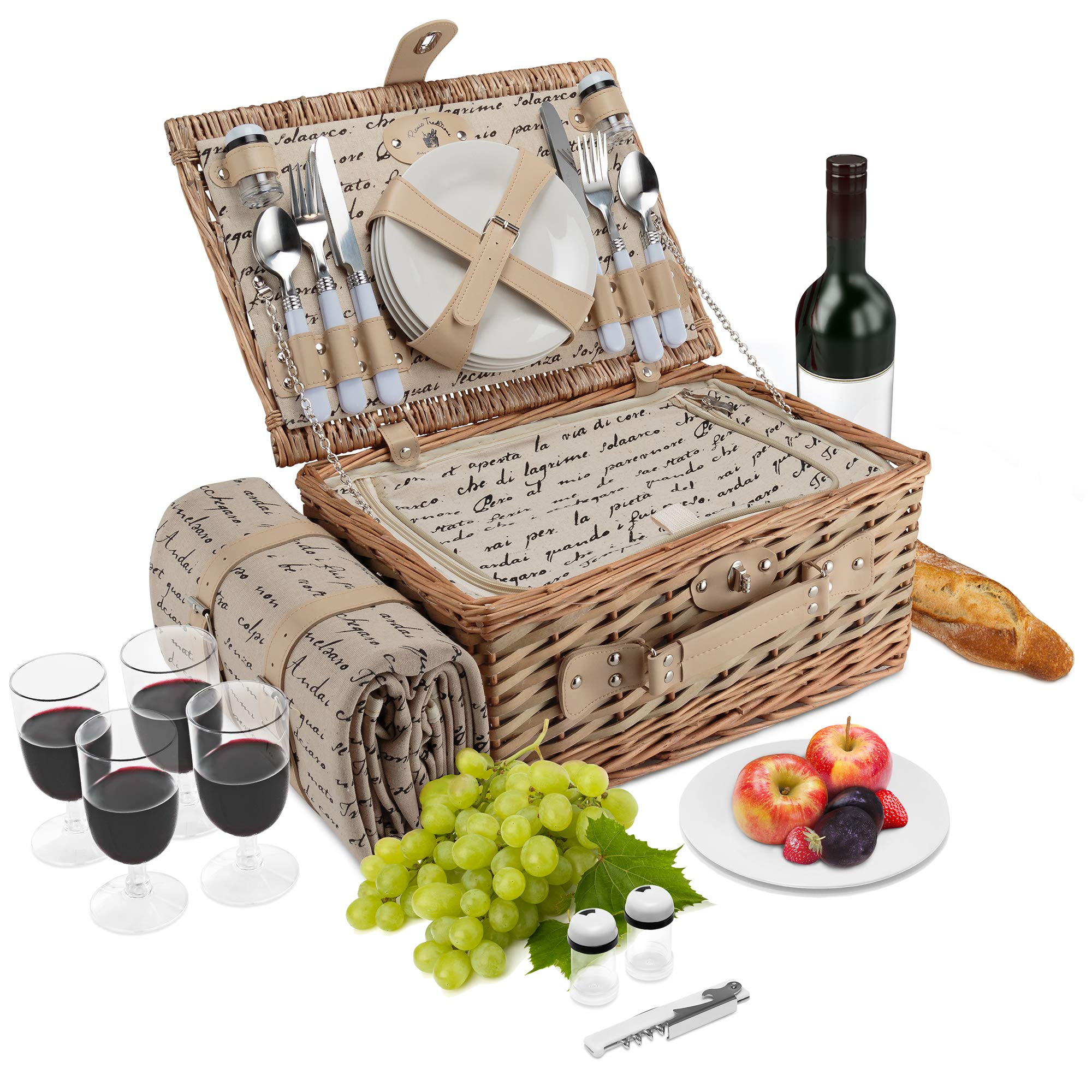 Wicker Picnic Basket | 4 Person Vintage Style Woven Willow Picnic Hamper with Blanket | Built-In Cooler | Ceramic Plates, Stainless Steel Silverware, Wine Glasses, S/P Shakers, Bottle Opener (Natural)