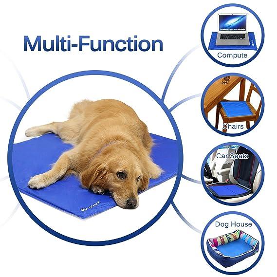 GoPetee Alfombrilla de Refrigeración para Mascotas Cama de Perro y Gato para Verano Animales Manta de Dormir Fresco Cojín Azul (M (50 * 65cm)) (XL 81x96 ...