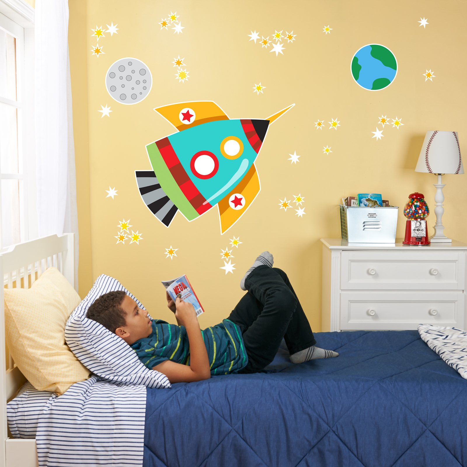 BirthdayExpress Rocket to Space Room Decorations Vinyl Wall Graphic Decal