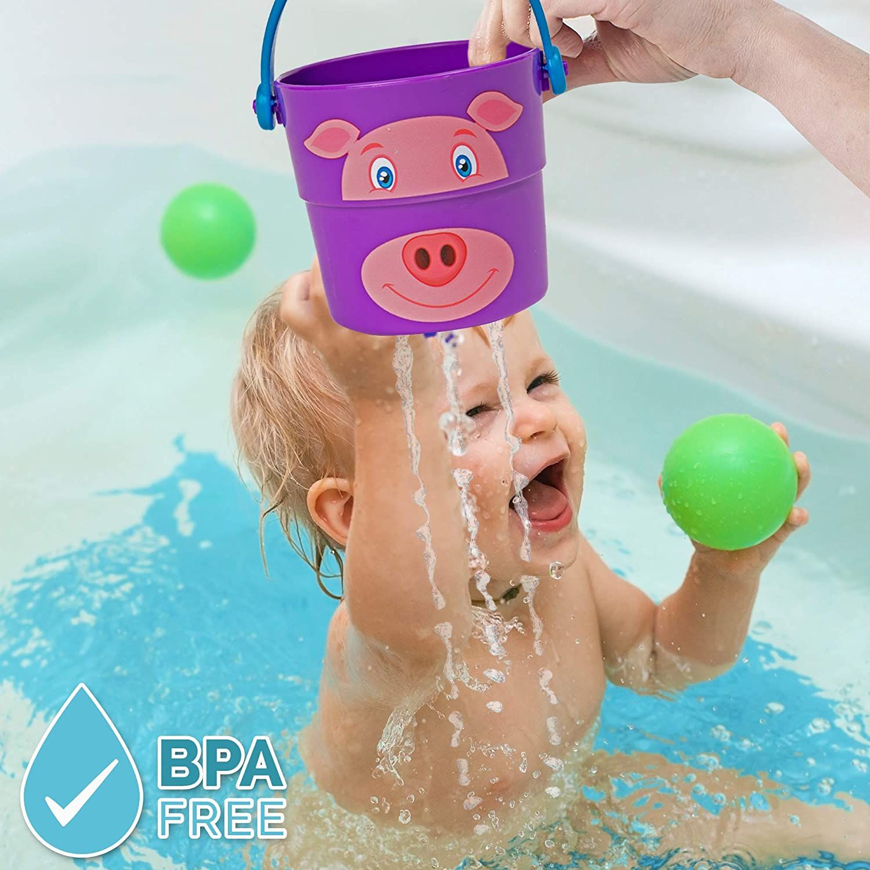 Badespielzeug Eimer zum Stapeln Bramble 6 Stack n Pour Buckets Badezimmer Badewanne Dusche Wasser Pool Spielzeug f/ür Babys Kinder 6 Verschiedene Charaktere /& 3 Verschiedene Sprinkler-Effekte