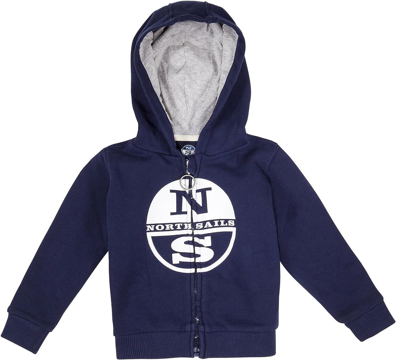 North Sails Kids Lowell 100% Fleece Zip Hoodie with Logo in