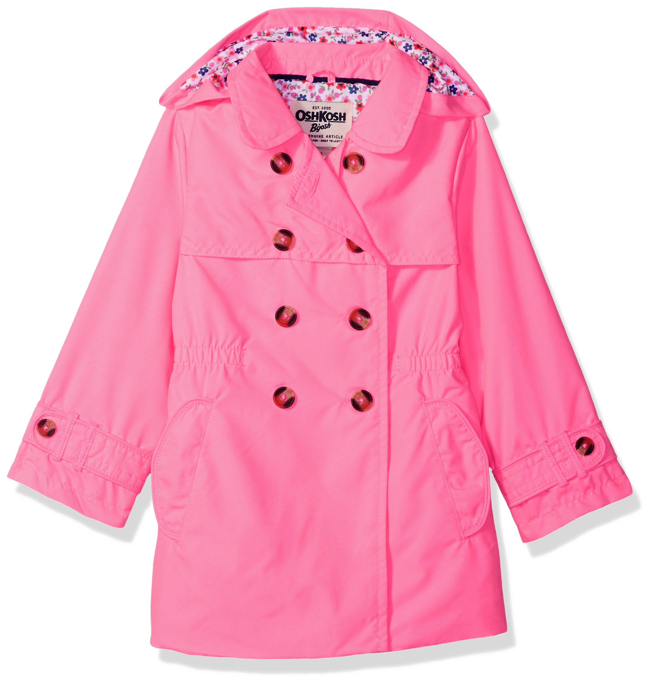 Osh Kosh Girls' Little Hooded Trench Coat, Flamingo Pink, 5/6