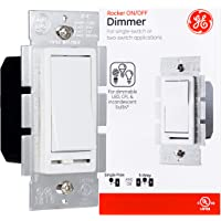 GE Slide Dimmer Rocker Switch, Dimmable Wall Light Switch, Single Pole or 3-Way, For Dimmable LED, CFL, & Incandescent…