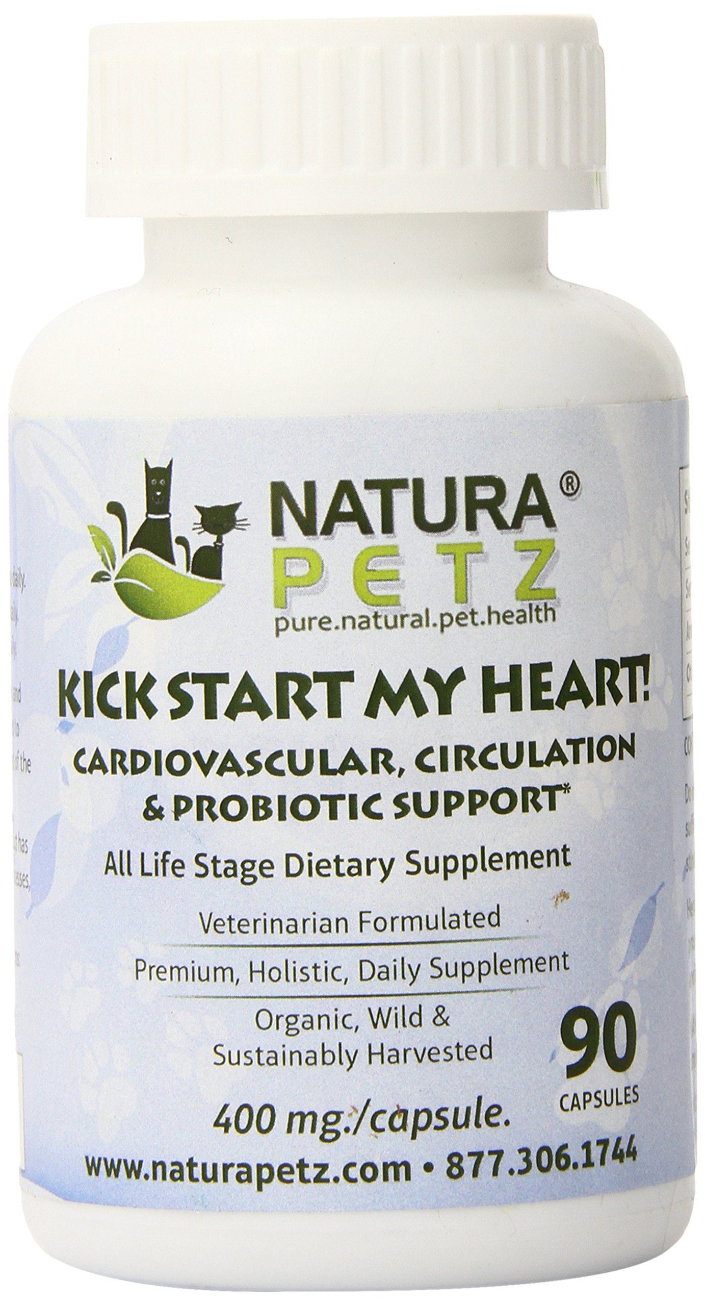 Natura Petz Kick Start My Heart Probiotic Cardiovascular and Circulation Support for Pets, 90 Capsules, 400mg Per Capsule