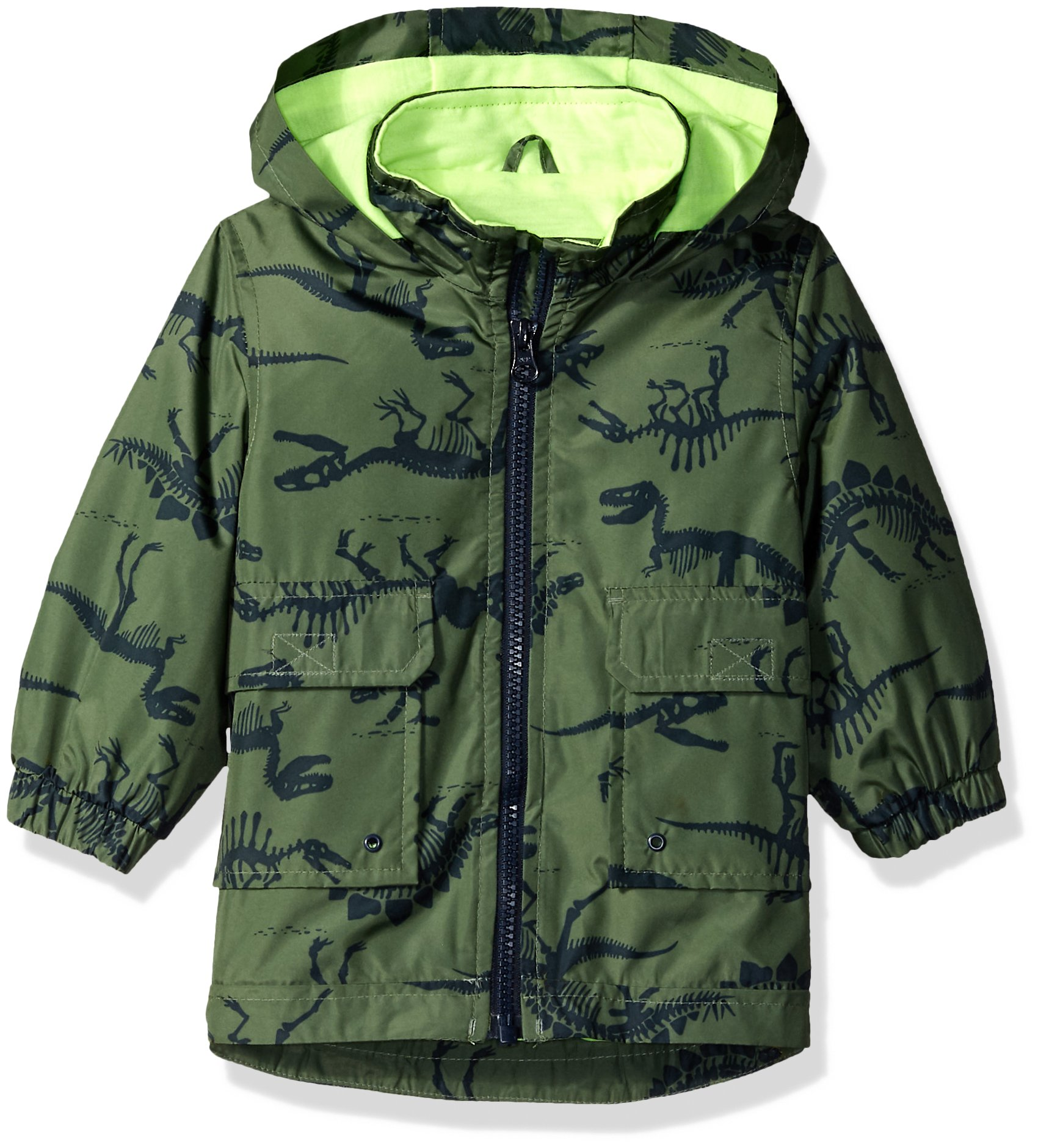Carter's Baby Boys His Favorite Rainslicker Rain Jacket, Green Dinosaur Print, 24M