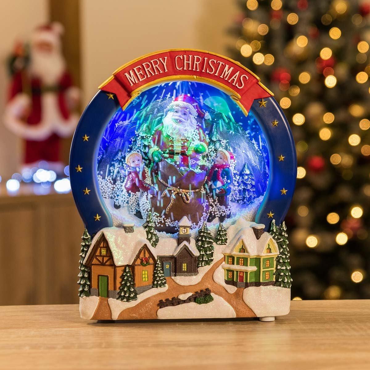Amazon.de: christow (Devon) LED Schnee Weihnachten Santa Szene ...