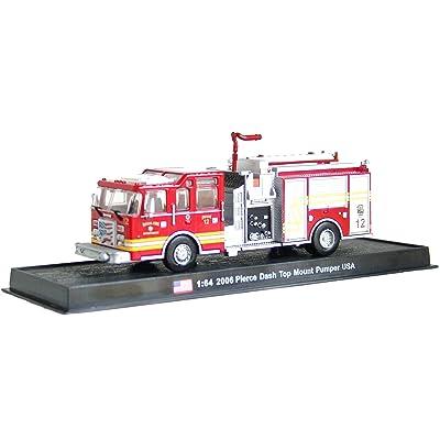 Pierce Dash Top Mount Pumper Fire Truck Diecast 1: 64Model (Amercom GB-16): Home & Kitchen