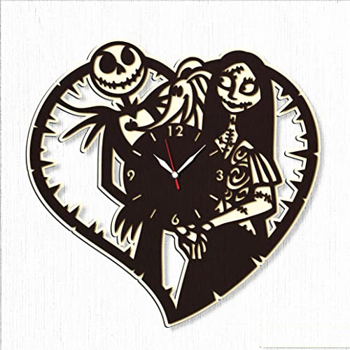 Nightmare Before Christmas Large Woodl Clock 20 – Big Wooden Clock Jack and Sally Nightmare Before for Fans Nightmare Before Christm – Original Wall Home Decor Wood-b-20
