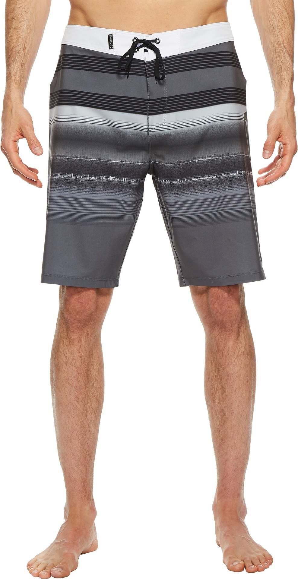 Hurley Men's Striped 20'' inch Phantom Stretch Boardshort, Dark Grey/White, 40