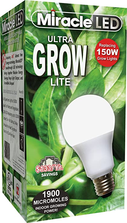 Miracle LED Commercial Hydroponic Ultra Grow Lite - Replaces up to 150W -  Daylight White Full Spectrum LED Indoor Plant Growing Light Bulb For DIY