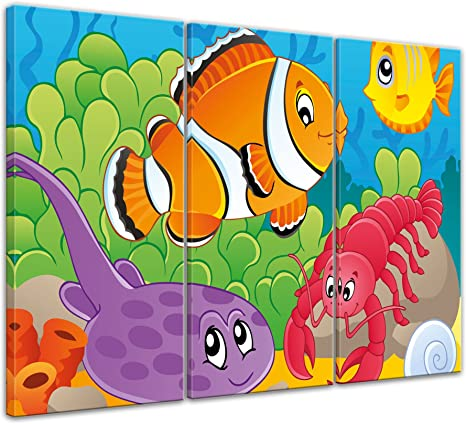 Leinwandbild Kinderbild Unterwasser Tiere II
