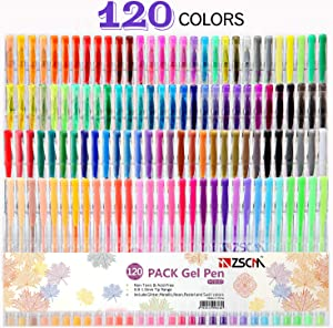 ZSCM 120 Colors Artist Gel Pen Set with Case, Glitter Neon Gel Pens Art Markers Ink Pens for Adult Coloring Books Craft Doodling Bullet Journaling Drawing