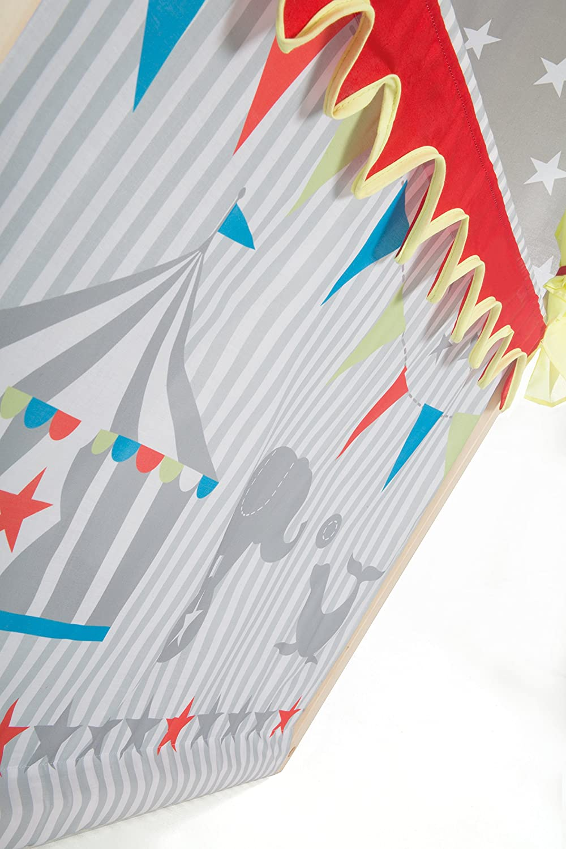 6 Handpuppen Puppentheater inkl freistehend mit Stoffbespannung Kaspertheater aus Massivholz roba Kasperletheater