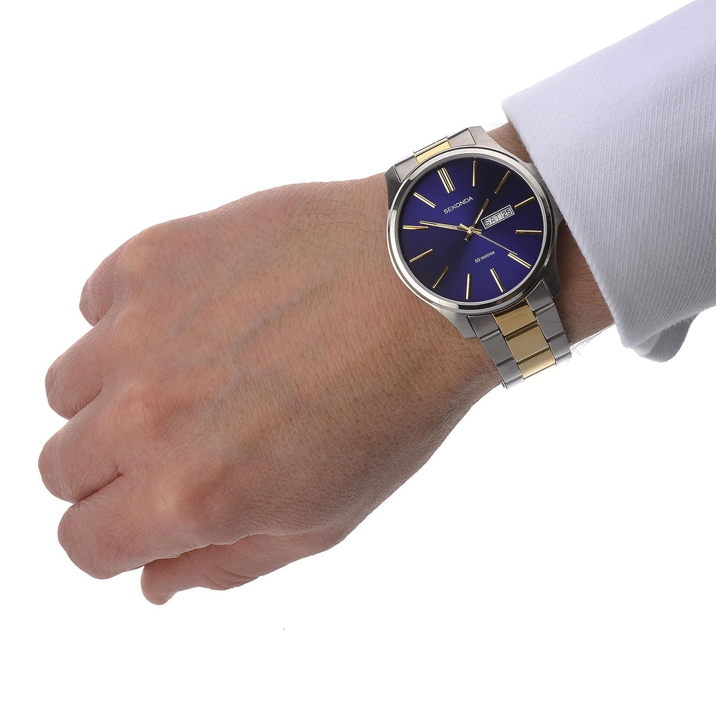 a2b55812e0d2 Amazon.com  Sekonda Mens Blue Dial Stainless Steel Bracelet Watch 1440   Watches