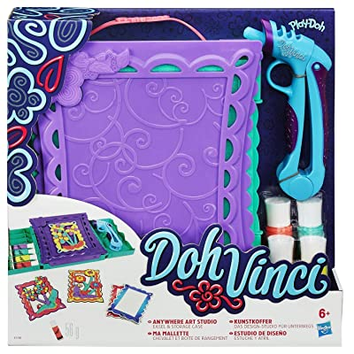 Play Doh DohVinci Anywhere Art Studio Easel and Storage Case Set: Toys & Games