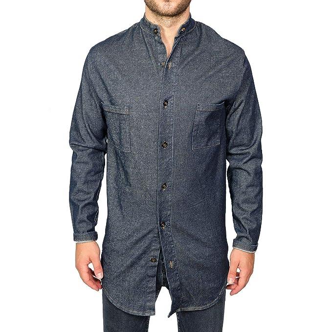 Camicia Uomo di Jeans Collo Coreano Blu Elegante Slim Fit Manica Lunga  Sartoriale Cardigan Classica Camicetta Denim Casual sotto Giacca (S)   Amazon.it  ... 80c6ece2e29