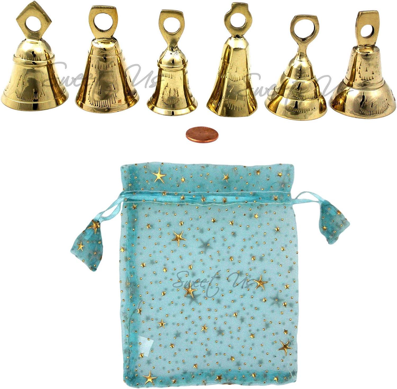 6 Pcs Jingle Bells Musical Rhythm Polar Sleigh Bells, Meditation, Craft Work, Party Favors, Cow Bells, Goat Bells, Wedding Bells, Christmas Décor (Polished Brass, 2.75-inch High)