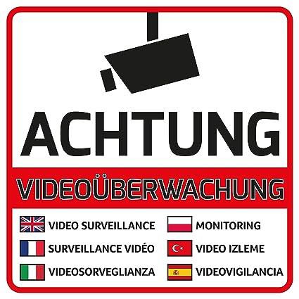 10 Atención Videovigilancia Pegatinas – Adhesivo Atención Videovigilancia (10 unidades) dobladas para interior y