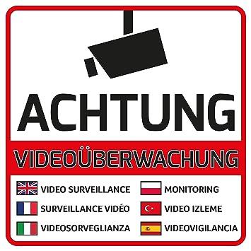 10 Videouberwachung Aufkleber Achtung Videouberwacht 105 X 105 Mm
