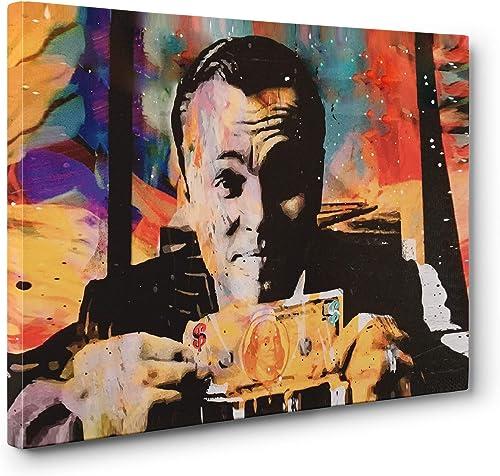 Wolf Of Wallstreet Money Abstract Leonardo DiCaprio Jordan Belfort Gallery Canvas Wall Art Ready To Hang 24x36in. Large