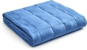 YnM Weighted Blanket — Heavy 100% Oeko-Tex Certified Cotton Material with Premium Glass Beads (Monaco Blue, 80''x87'' 25lbs), Two Persons(110~190lb) Sharing Use on Queen/King Bed | A Duvet Included
