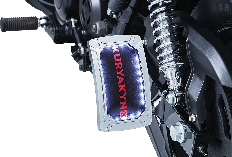 Horizontal Side Mount Kuryakyn 3192 Motorcycle Accent Accessory Chrome Nova Curved License Plate Holder and Frame with Wraparound LED Illumination Lighting