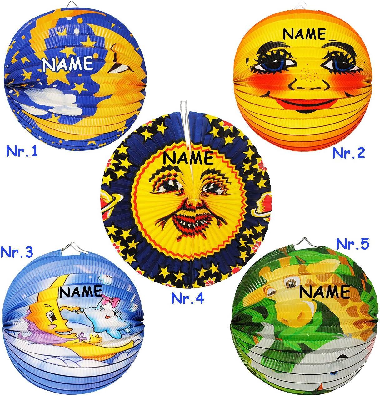 f/ür Laterne.. RUND incl Mond /& Sterne Laternen Lampions Name aus Papier alles-meine.de GmbH Lampion // Laterne Figuren f/ür Kinder Papierlaterne M/ädchen Jungen