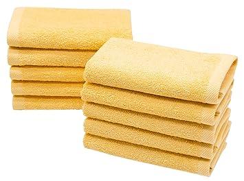 ZOLLNER 10 Toallas para la Cara, para Limpieza Facial,30x30 cm, 100% Rizo de algodón, Amarillo, en Otros Colores: Amazon.es: Hogar