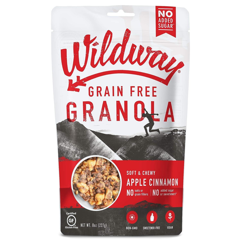 Wildway Keto, Vegan Granola | Apple Cinnamon Granola | Certified Gluten Free Granola Breakfast Cereal, Low Carb Snack | Paleo, Grain Free, Non GMO, No Added Sugar | 8oz, 6 pack