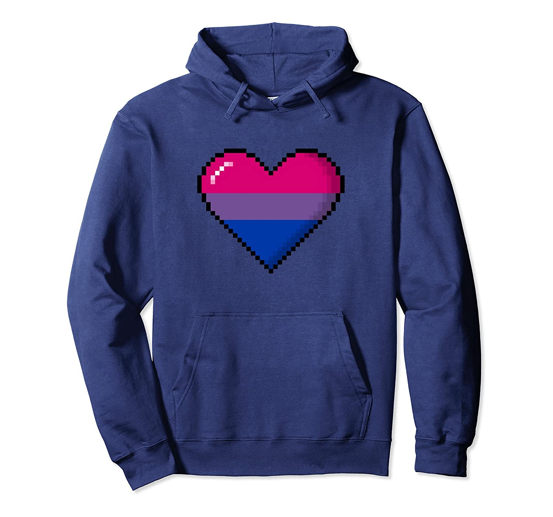 Bisexual Pride 8-Bit Pixel Heart Pullover Hoodie-alottee gift