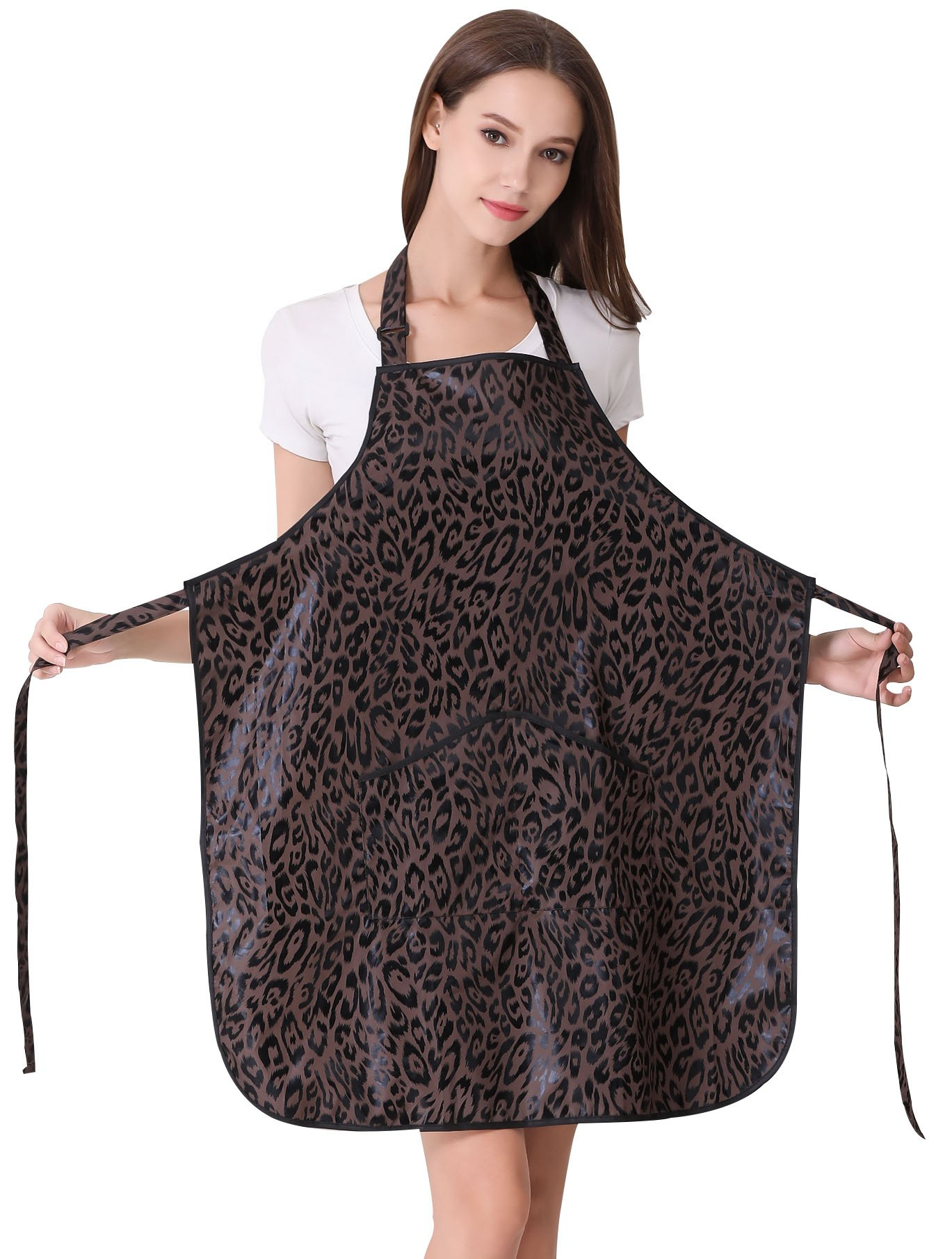 Hair Stylist Apron for Salon Hairdresser, Barber Haircut Styling Apron With Pockets-Leopard Print by Perfehair (Image #2)